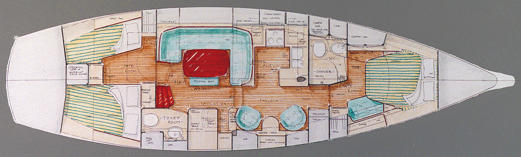Interior layout for Fantasi 44 PH #1, 'Dawdle'