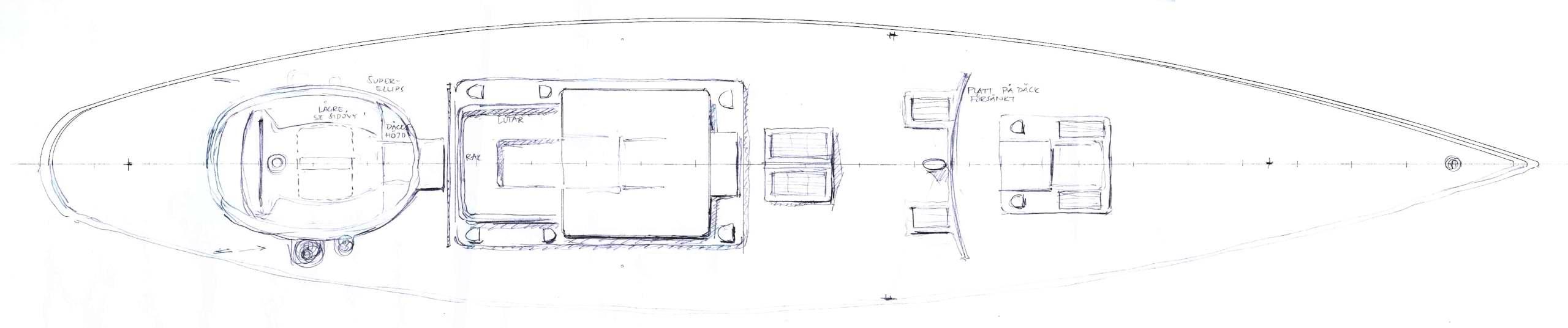 90' Classic, deck, early sketch (c) Heyman Yachts