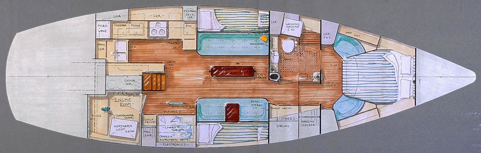 43' Freja, Interior