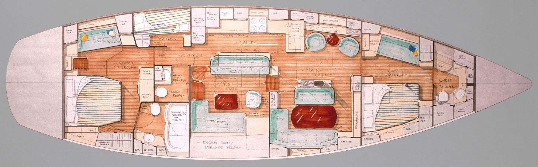 61' Pilot House Interior