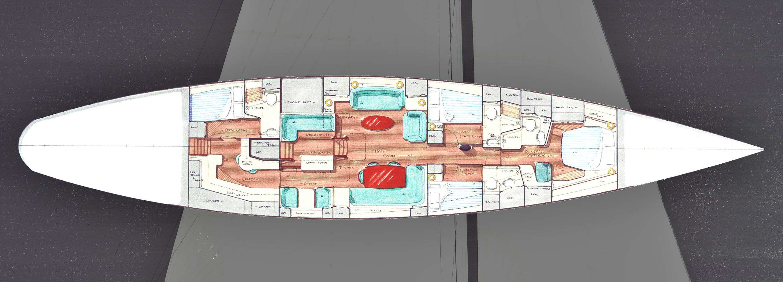 90' Classic, general arrangement (c) Heyman Yachts