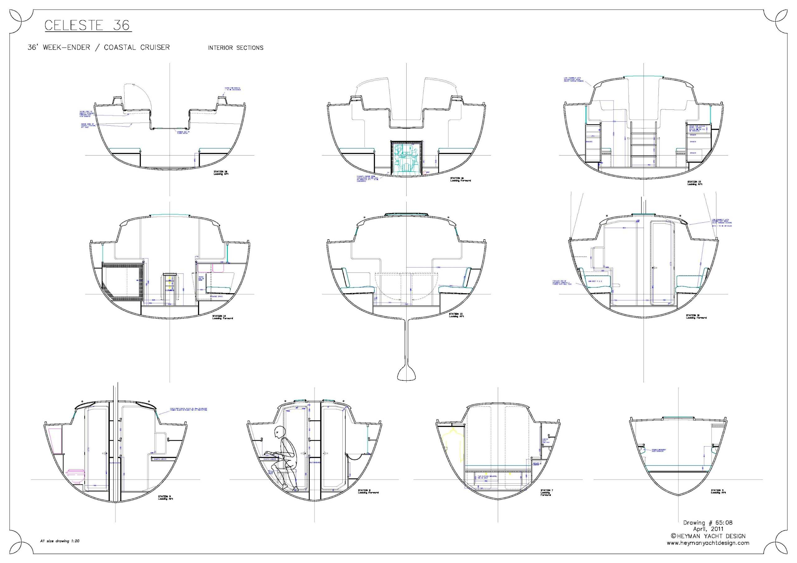 Celeste 36 interior sections
