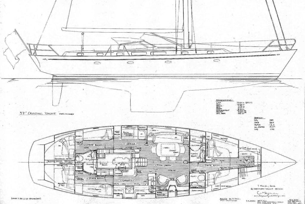 (c) Heyman Yachts 57', early hand-drawn general arrangement