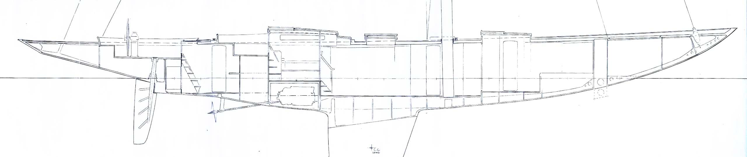 90' Classic, elevation, sketch (c) Heyman Yachts