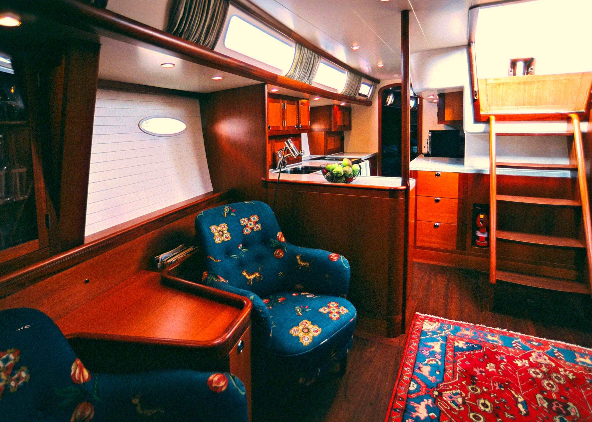 Heyman 57' starboard side seating and galley
