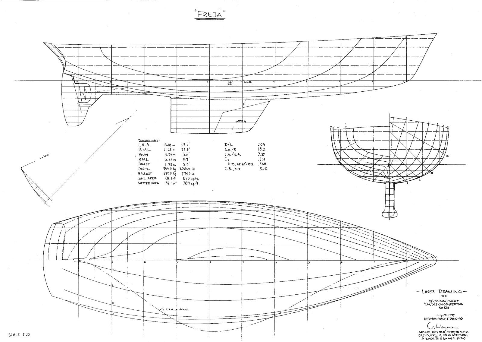 43' Freja, lines drawing