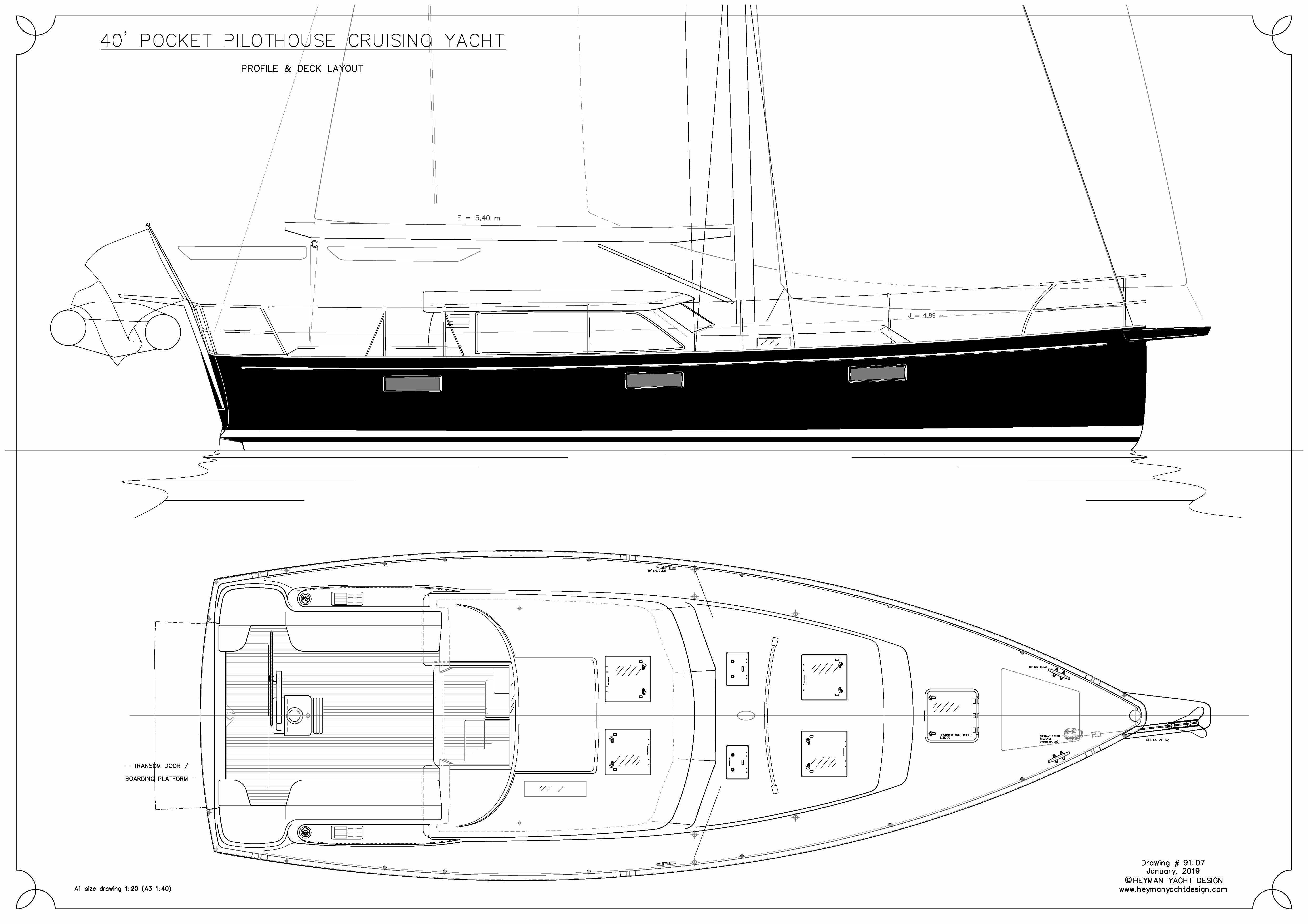 40' PPH, Pocket Pilot House Sailing Yacht - Heyman Yachts